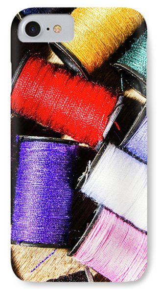 IPhone 7 Case featuring the photograph Rainbow Threads Sewing Equipment by Jorgo Photography - Wall Art Gallery