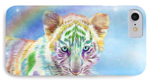 IPhone Case featuring the mixed media Rainbow Tiger - Horizontal by Carol Cavalaris