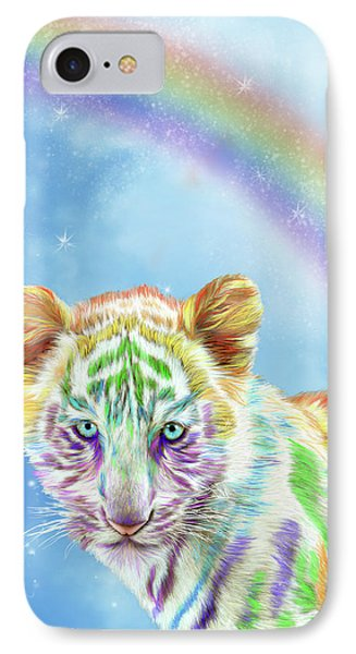 IPhone Case featuring the mixed media Rainbow Tiger - Vertical by Carol Cavalaris