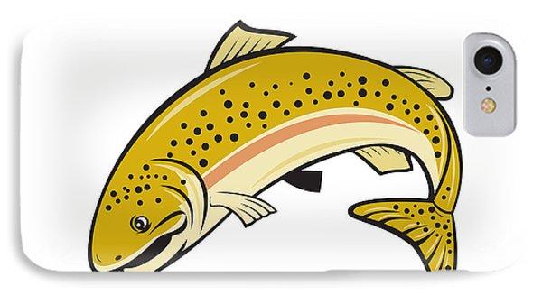 Rainbow Trout Jumping Cartoon Isolated IPhone Case by Aloysius Patrimonio