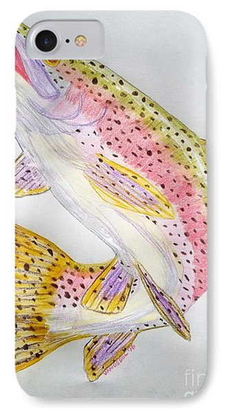 Rainbow Trout Presented In Colored Pencil IPhone Case by Scott D Van Osdol