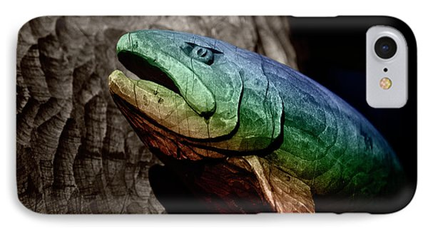IPhone Case featuring the photograph Rainbow Trout Wood Sculpture by John Stephens