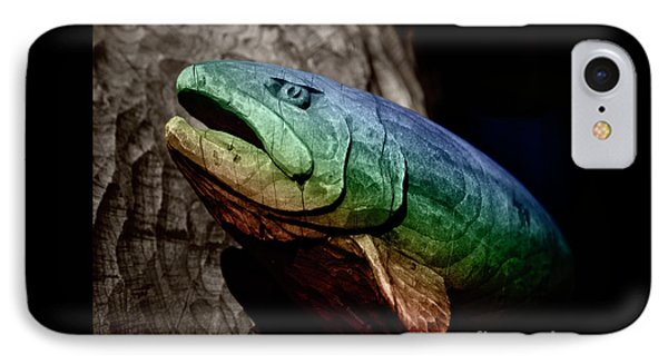 IPhone Case featuring the photograph Rainbow Trout Wood Sculpture Square by John Stephens
