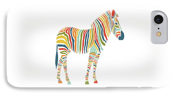 Rainbow Zebra IPhone Case by Nicole Wilson