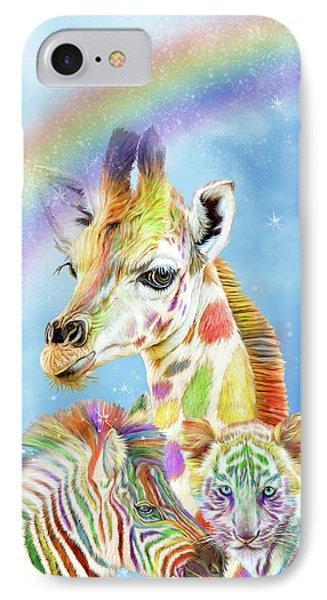 IPhone Case featuring the mixed media Rainbow Zoo by Carol Cavalaris