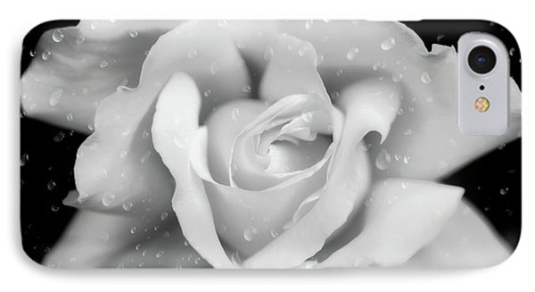 IPhone Case featuring the photograph Raindrops On Rose Black And White by Jennie Marie Schell