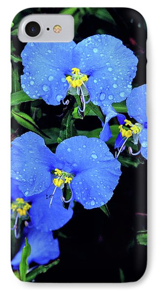 Raindrops In Blue IPhone Case by Peg Urban