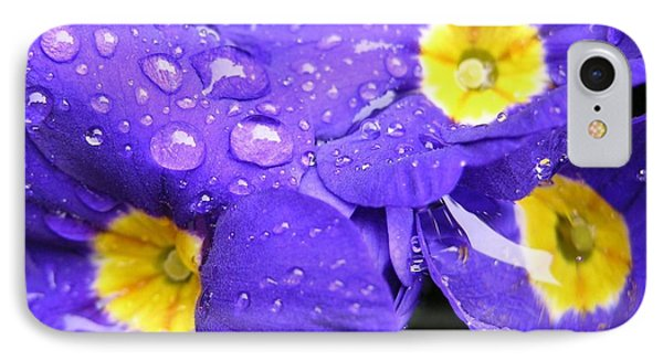 Raindrops On Blue Flowers Phone Case by Carol Groenen