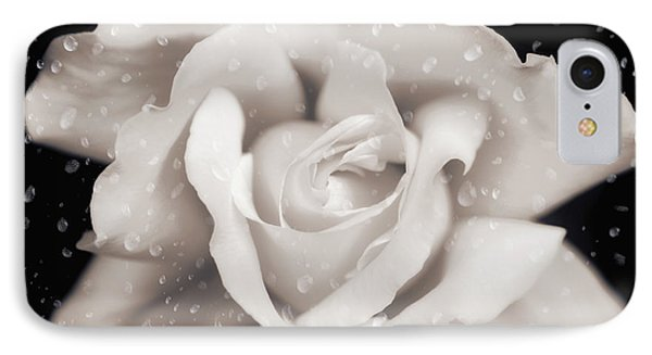 IPhone Case featuring the photograph Raindrops On Sepia Rose Flower by Jennie Marie Schell