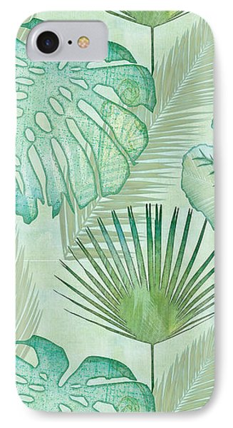 Beach iPhone 7 Case - Rainforest Tropical - Elephant Ear And Fan Palm Leaves Repeat Pattern by Audrey Jeanne Roberts