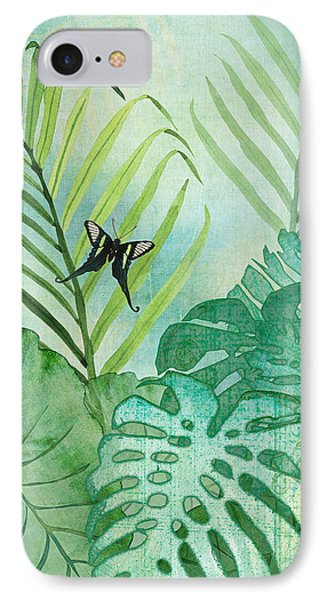 Rainforest Tropical - Philodendron Elephant Ear And Palm Leaves W Botanical Butterfly IPhone Case by Audrey Jeanne Roberts