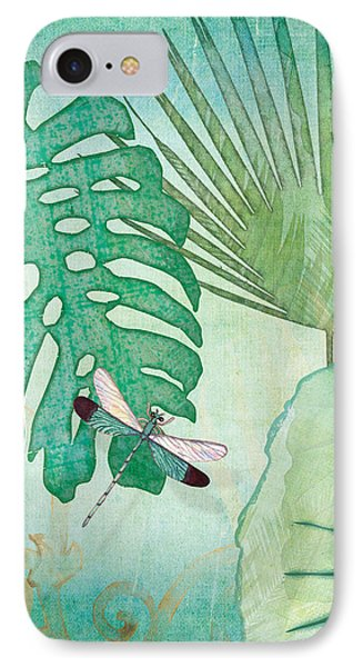 Rainforest Tropical - Philodendron Elephant Ear And Palm Leaves W Botanical Dragonfly 2 IPhone Case by Audrey Jeanne Roberts