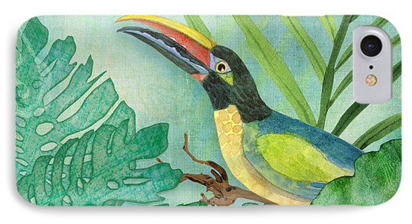 Toucan iPhone 7 Case - Rainforest Tropical - Jungle Toucan W Philodendron Elephant Ear And Palm Leaves 2 by Audrey Jeanne Roberts