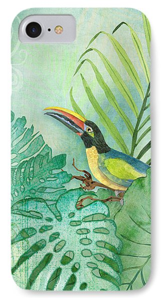 Rainforest Tropical - Tropical Toucan W Philodendron Elephant Ear And Palm Leaves IPhone 7 Case by Audrey Jeanne Roberts