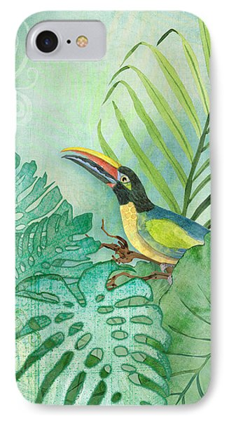 Rainforest Tropical - Tropical Toucan W Philodendron Elephant Ear And Palm Leaves IPhone Case by Audrey Jeanne Roberts
