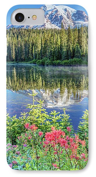 IPhone Case featuring the photograph Rainier Wildflowers At Reflection Lake by Pierre Leclerc Photography