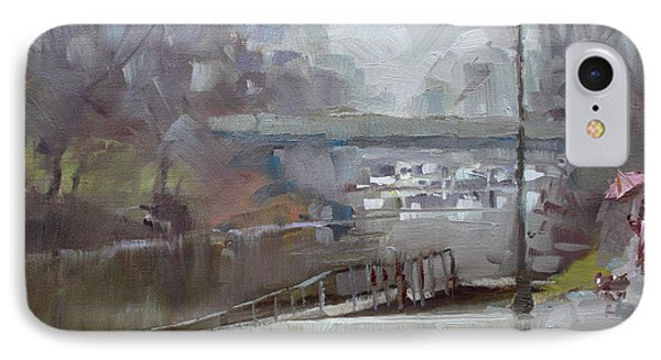 Raining In Tonawanda Canal IPhone Case by Ylli Haruni