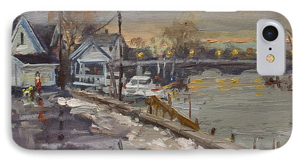 Rainy And Snowy Evening By Niagara River IPhone Case by Ylli Haruni