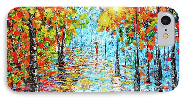 IPhone Case featuring the painting Rainy Autumn Evening In The Park Acylic Palette Knife Painting by Georgeta Blanaru