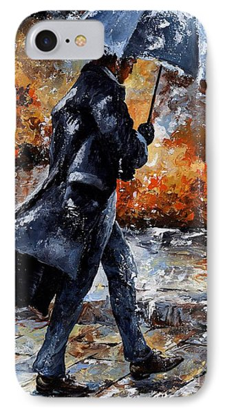 Rainy Day/07 - Walking In The Rain IPhone Case by Emerico Imre Toth