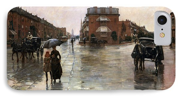 IPhone Case featuring the painting Rainy Day, Boston - 1885  by Frederick Childe Hassam
