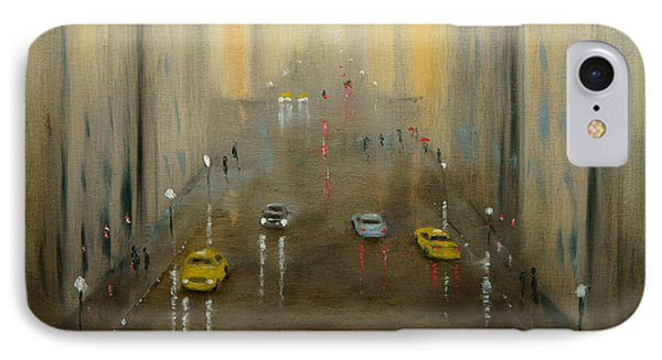 IPhone Case featuring the painting Rainy Day Cityscape by Chris Fraser