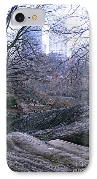 Rainy Day In Central Park IPhone Case by Sandy Moulder