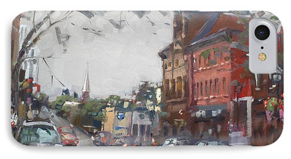 Rainy Day In Downtown Brampton On IPhone Case by Ylli Haruni