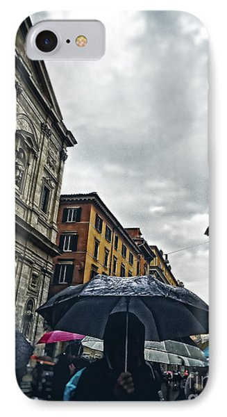 rainy day in Rome IPhone Case by HD Connelly