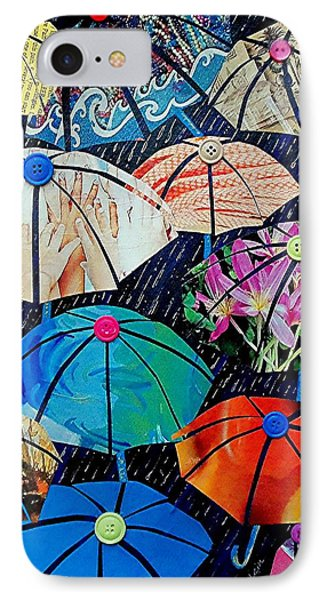 IPhone Case featuring the painting Rainy Day Personalities by Susan DeLain