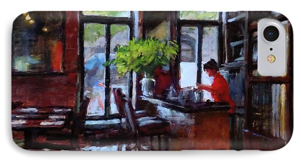 Rainy Morning In The Restaurant Phone Case by Peter Salwen