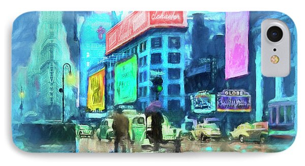 IPhone Case featuring the painting Rainy Night In New York by Michael Cleere