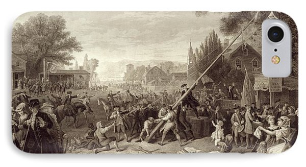 Raising The Liberty Pole 1776. An IPhone Case by Vintage Design Pics