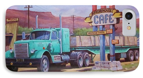 IPhone Case featuring the painting Ranch House Truckstop. by Mike Jeffries