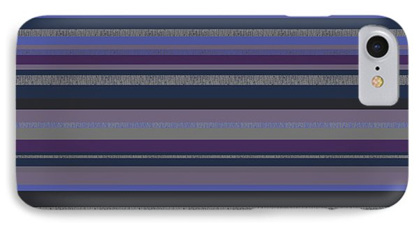 Random Stripes - Grayed Blues And Purple IPhone Case by Val Arie