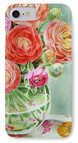 Rose iPhone 7 Case - Ranunculus In The Glass Vase by Irina Sztukowski