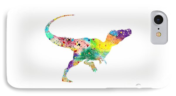 Raptor 2 Dinosaur Watercolor IPhone 7 Case by Svetla Tancheva