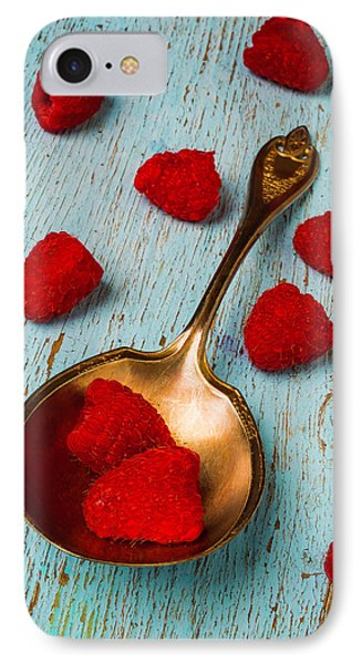 Raspberries With Antique Spoon IPhone 7 Case by Garry Gay