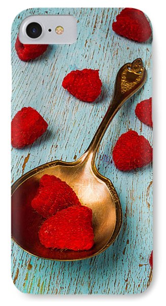 Raspberries With Antique Spoon IPhone Case by Garry Gay