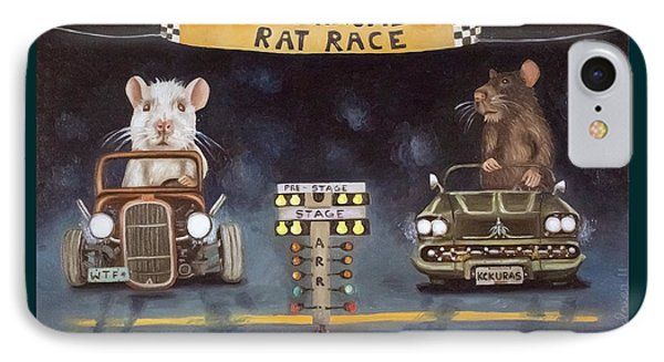 Rat Race With Lettering IPhone Case by Leah Saulnier The Painting Maniac
