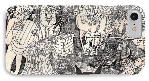 IPhone Case featuring the drawing Rathbone Meets The Forest Lord by Al Goldfarb