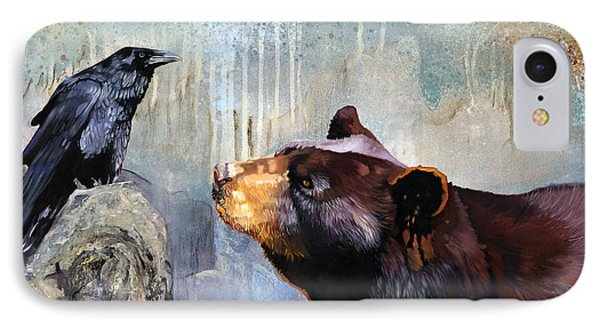 Raven And The Bear IPhone Case by J W Baker