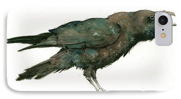 Crow iPhone 7 Case - Raven Bird by Juan Bosco