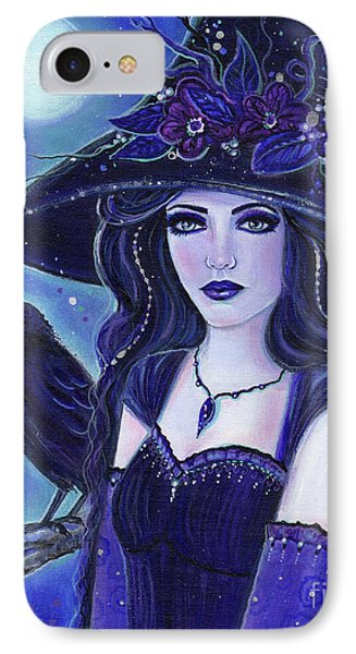 Raven Halloween Witch IPhone Case by Renee Lavoie