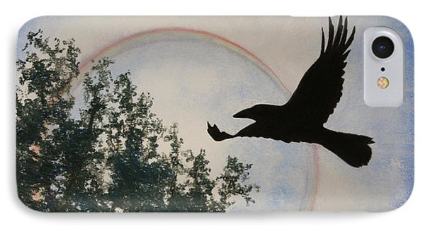 IPhone Case featuring the painting Raven Holds The Sun by Stanza Widen