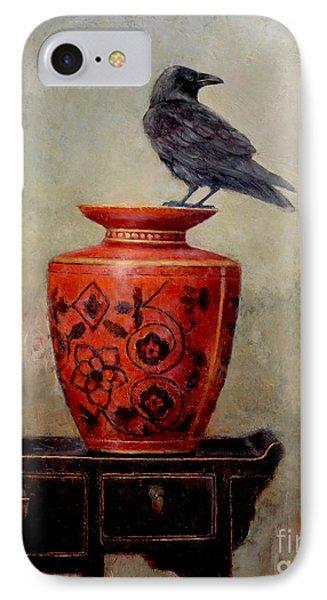 Blackbird iPhone 7 Case - Raven On Red  by Lori  McNee
