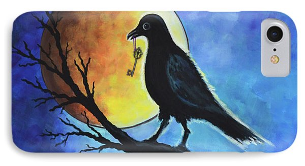 Raven With Key IPhone Case by Agata Lindquist