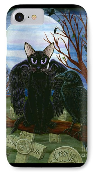 Raven's Moon Black Cat Crow IPhone Case by Carrie Hawks