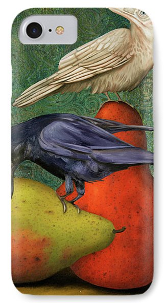 Ravens On Pears IPhone Case by Leah Saulnier The Painting Maniac