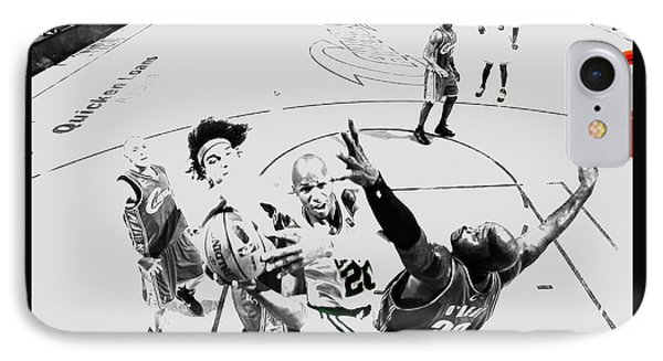 Ray Allen In Traffic IPhone Case by Brian Reaves
